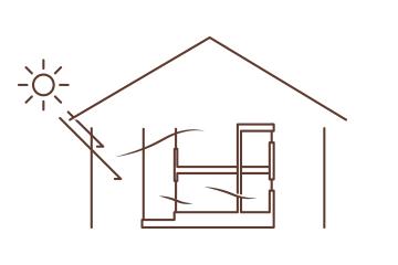 冬あたたかくて夏涼しい健康でいられる家のイラスト